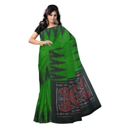 OSS9081: Plain Green Hadwoven Cotton sarees for office wear.