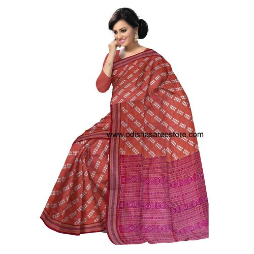 OSS40001: Brick color Handwoven Pure Sambalpuri Puja Special Cotton Saree