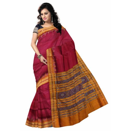 OSS5101: Maroon color Handloom Silk Saree for festival wear.