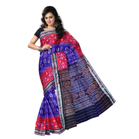 OSS7424: Blue with Red combo Handwoven cotton sarees.