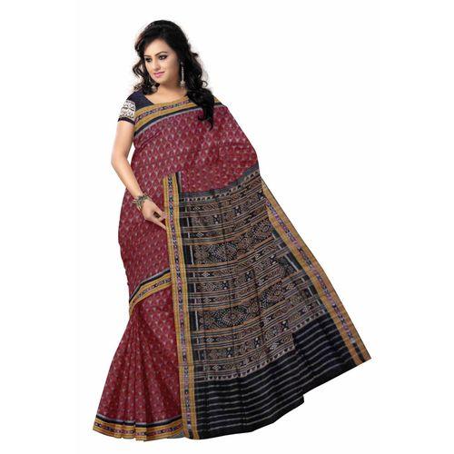 OSS7314: Handloom Maroon color cotton sari.