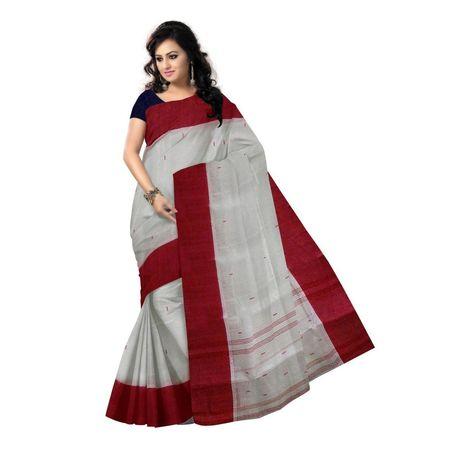 OSSWB112: Santipur lal paar sadha handloom cotton Saree online
