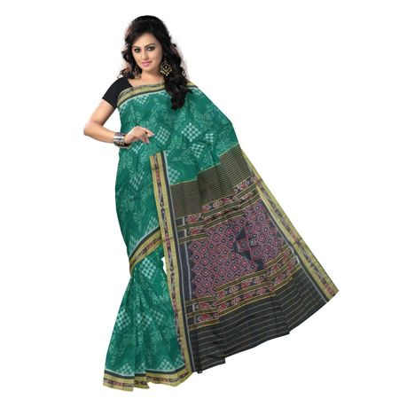 OSS9087: Green with Black Handloom Cotton saree