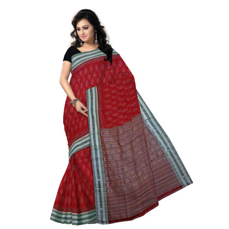 OSS276: Special Body Bandha design Red Maroon Cotton Saree