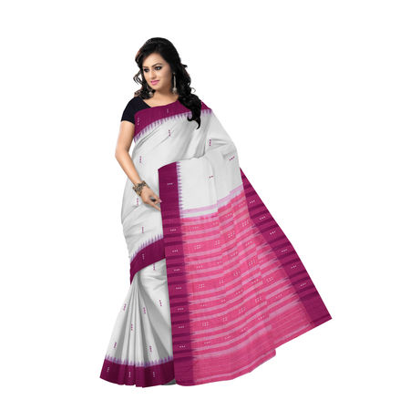 OSS288: White-Pink Buti design Cotton Saree for festive wear