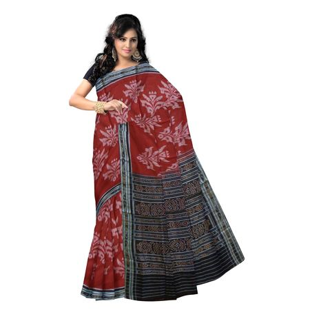 OSS7465: Maroon color Cotton sarees of odisha with unique design's