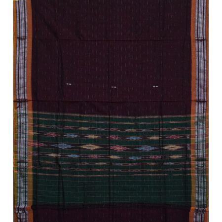 AJ001158: Deep Maroon with Orange Handloom Cotton saree of Odisha