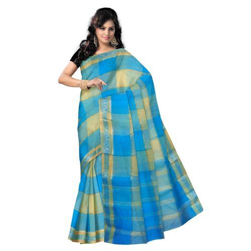 OSSWB9008: Sky Blue color handwoven cotton sarees of West Bengal