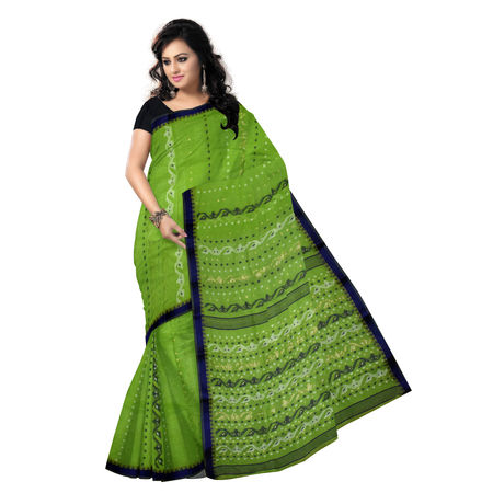 OSSWB90012: Ethnic choice of Green Tant Jamdani saree of Bengal