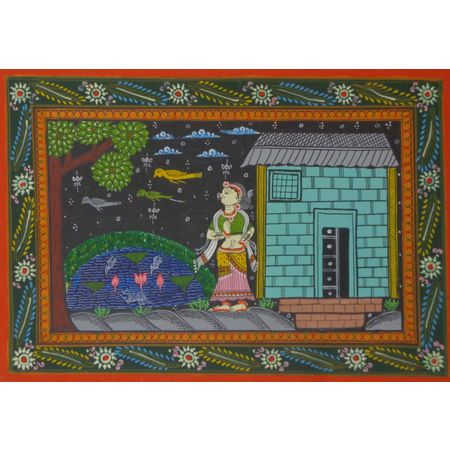 OHP048: A village scenery patachitra Art was designed.