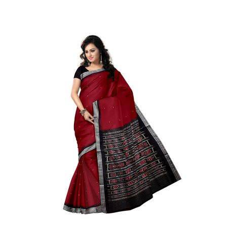 Plain Buti Design Deep Red With Black Handloom Cotton Saree of Odisha, Nuapatana AJ001562