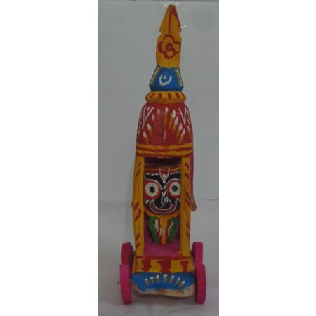 OHW020: Wooden Handicraft of Lord Jagannath in a Small Cart.