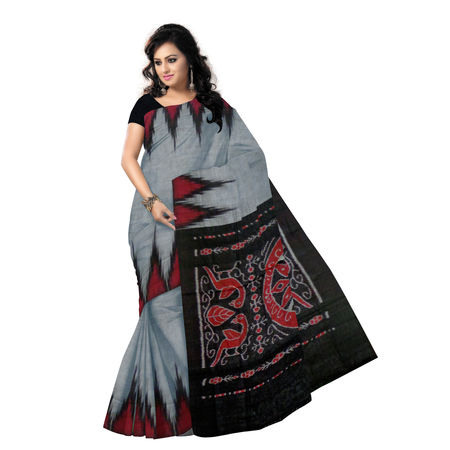OSS453: Handloom Grey with Black cotton sari.
