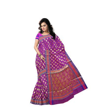 Deep Purple With Golden Handloom Buti Design Banaras cotton Silk Saree of Uttar Pradesh AJ001585