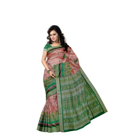 Light Peach with Green Handloom Bridal Embroidery Bomkai Silk saree with Blousepiece AJ001210