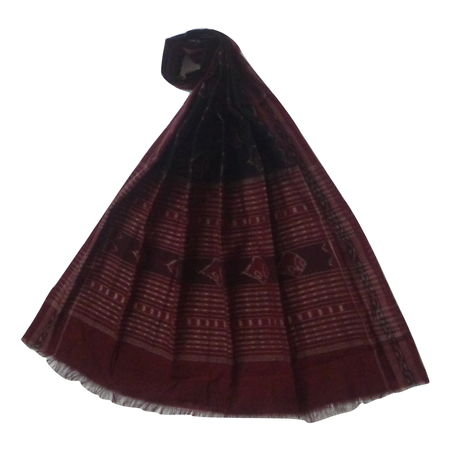 OSS161: Black-Maroon combination Shell design cotton dupatta