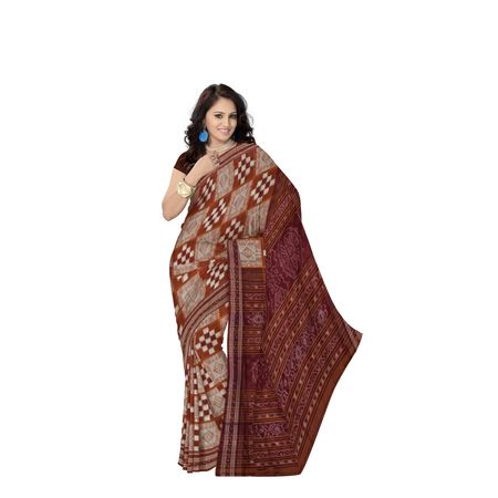 Deep Brown With Maroon Handloom Bada Pasapali Cotton Saree Of Odisha AJ001435