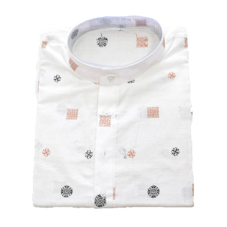 White Sambalpuri Handloom cotton Kurta for Men made in Odisha Sambalpur AJ001766