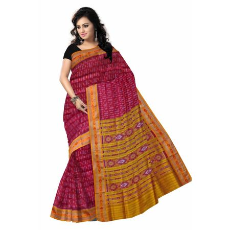 OSS505: Maroon color odisha handwoven pata(Silk) saree