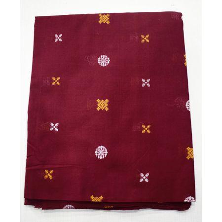 Deep Red Color Handloom Buti Design Shirt Running Fabric Of Sambalpur, Odisha AJ001722