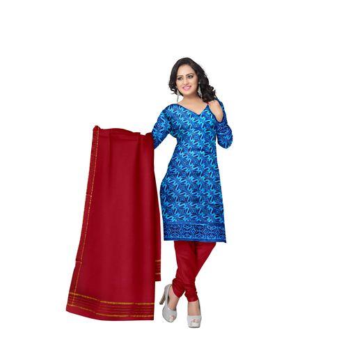 Sky Blue With Maroon Printed Handloom Cotton Dress Material of Telangana AJ001534