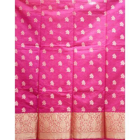 Pink With Orange Handloom Cotton silk Dress Material of Banaras AJ001789