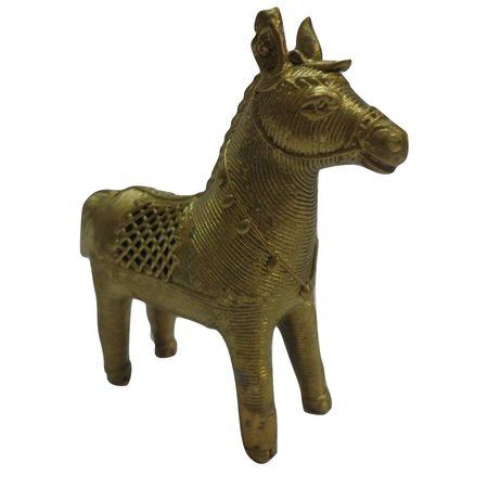 OHD027: Dhokra Single Horse for home decor