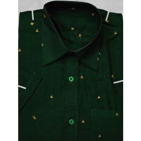 OSS8044: Handwoven Green Cotton Shirt for office wear