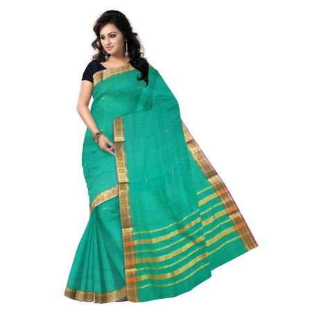 OSSMH002: 6 Yard handwoven green Cotton Saree