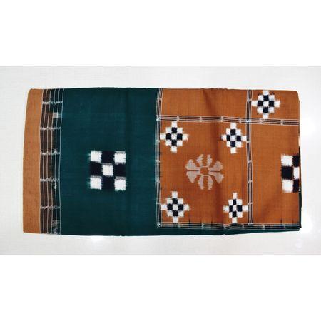 Green With Brown Color Combination Of Pasapalli Design Bedsheet Of Sambalpur, Odisha AJ001716