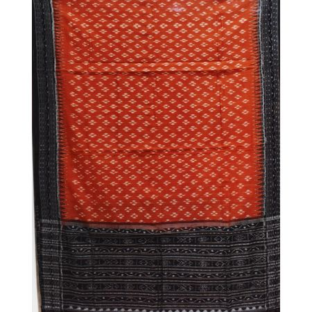 Deep Orange With Black Color Combination Of Handloom Cotton Dupatta Of Sambalpur, Odisha AJ001713