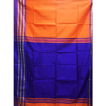 Orange With Navy Blue Color Handloom Temple Border Design Cotton Saree Of West Bengal AJ001656