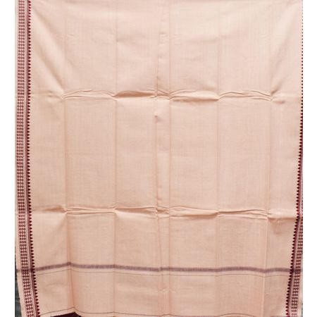 Ghee Color With Maroon Border Of Handloom Temple Design Towel Of Sambalpur, Odisha AJ001756
