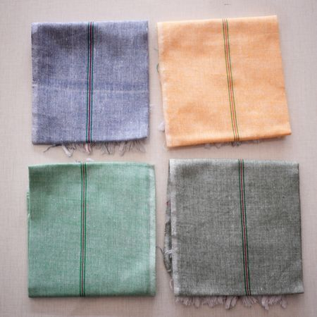 Handloom Cotton Handkerchief Made in South India. AJ001366 (set of - 4)