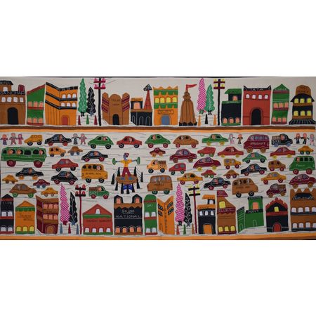 OHA059: Pipli Handicrafts Wall Hanging of City Lifestyle.