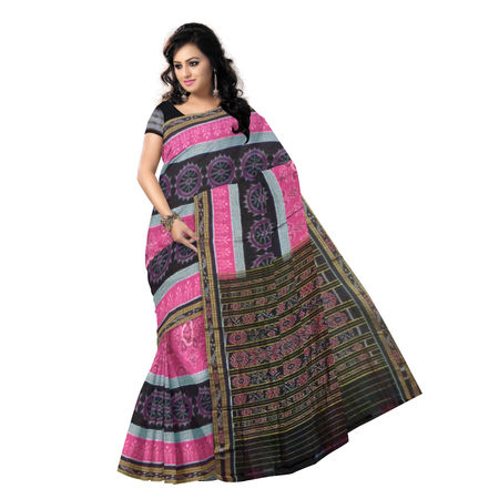 OSS9117: Pink Flower design Cotton Saree of Sambalpur