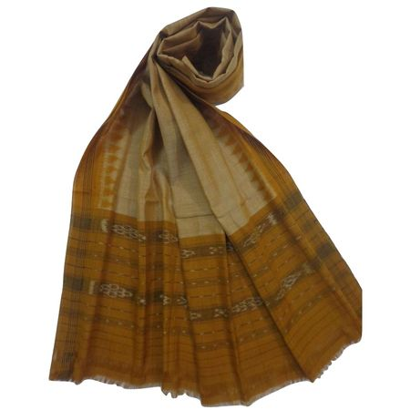 OSS3571: Temple design sambalpuri handwoven cotton dupatta