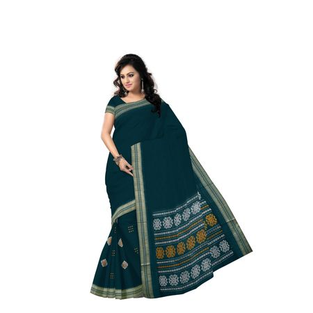 Deep Green With Yellow Handloom Rayagadi Padam Cotton Saree Of Sambalpur Odisha AJ001494