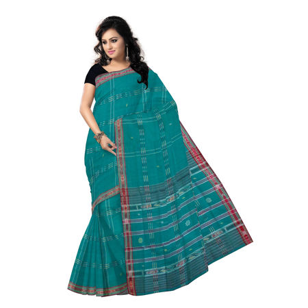 OSS277: Lines and buti Design Sea Green Cotton Hand woven Saree from Odisha