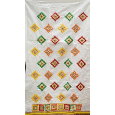 White With Orange Bandhani design Handloom Cotton silk Dress Material of Banaras AJ001785
