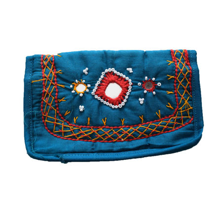 Handmade Purse With Embroidery Design And Mirror Work AJ001251