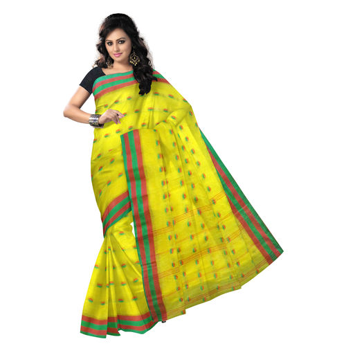 OSSWB9018: Yellow with small ball design handwoven Cotton saree.