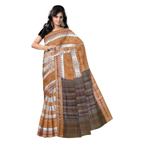 OSS9101: Handwoven Sambalpuri Ikat Cotton Saree in Brown and white.