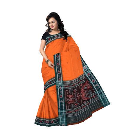 OSS471: Buti design saffron cotton saree for festive wear