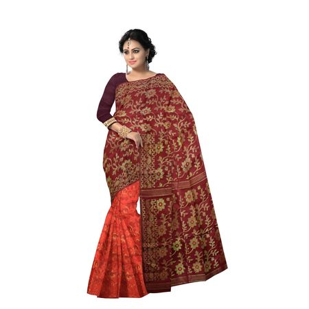 AJ000140: Ethnic choice of Red with Golden Jori work Dhakai Jamdani saree of Bengal