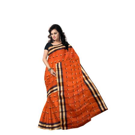 AJ000143: Orange Handwoven Tant Cotton saree of West Bengal