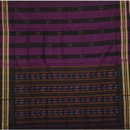 Deep Purple With Black Handloom Buti Design Saree Of Odisha AJ001439