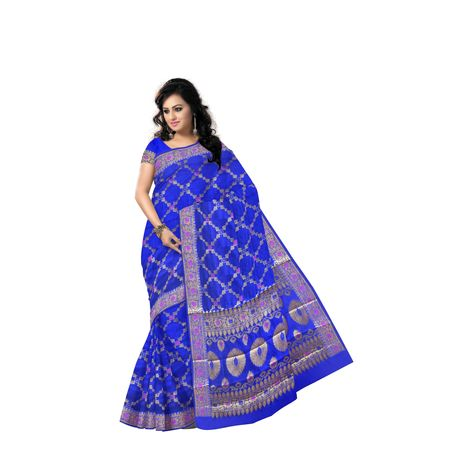 Navy Blue With Golden Handloom Banarashee Cotton Silk Saree Of Uttar Pradesh AJ001476