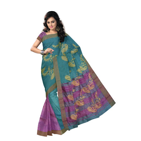OSSWB9033: Sea Green with Purple Handloom Kathi Silk Saree.