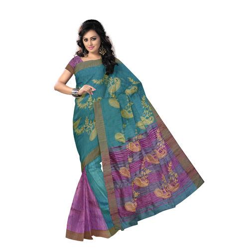 OSSWB9033: Sea Green with Purple Handloom Kathi Silk Saree.